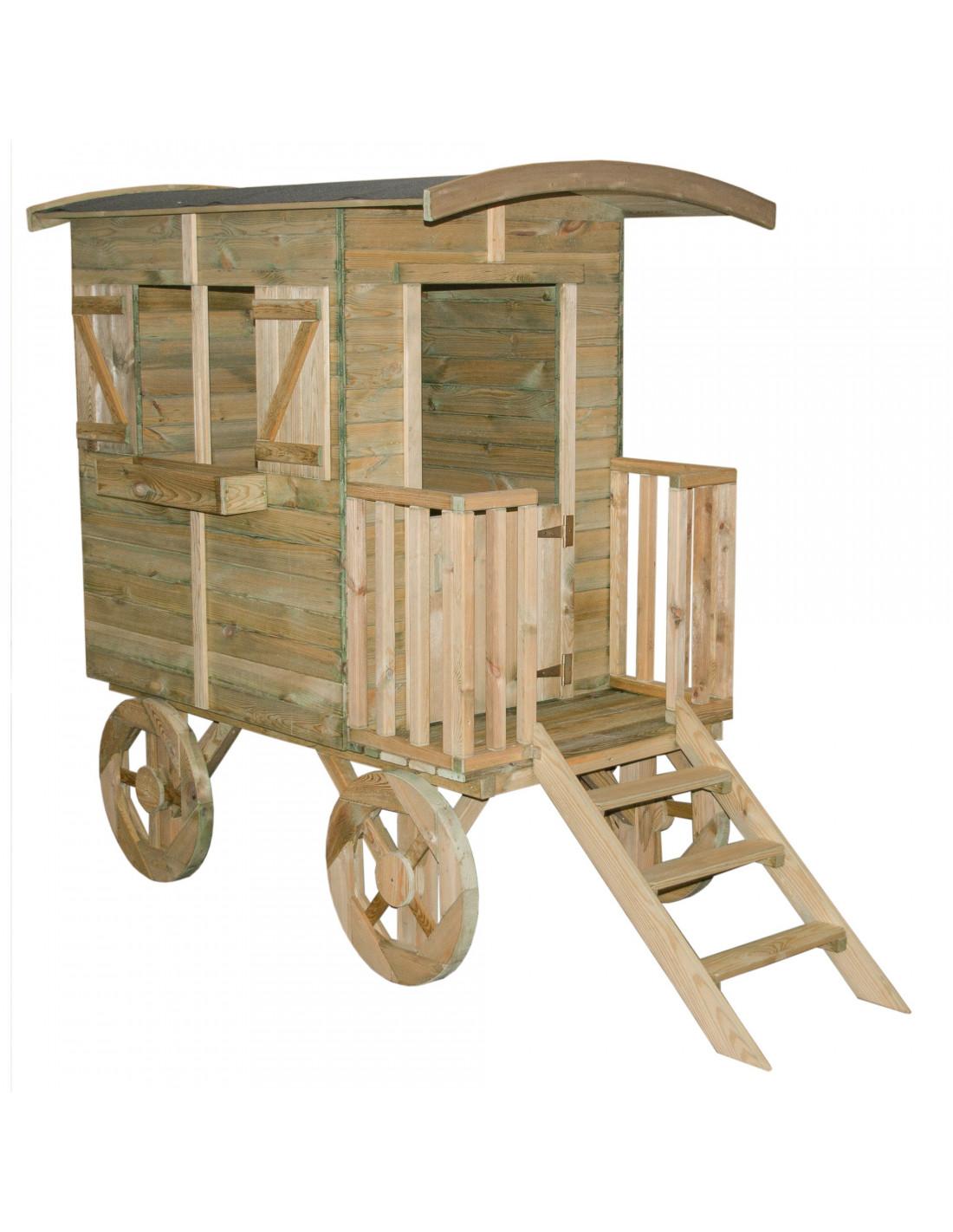Roulotte en bois western plancher inclus trait for Porte western bois