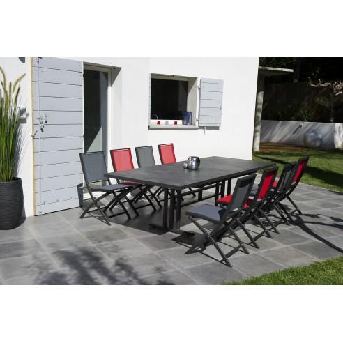 Table TWIG extensible 190 à 264 cm Aluminium plateau HPL rectangulaire