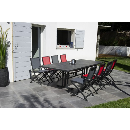 Table TWIG extensible L.190/264 x P.110 cm - Aluminium plateau HPL - Les  Jardins