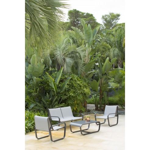 Salon de Jardin FLEX - 4 places aluminium et PVC - Les jardins