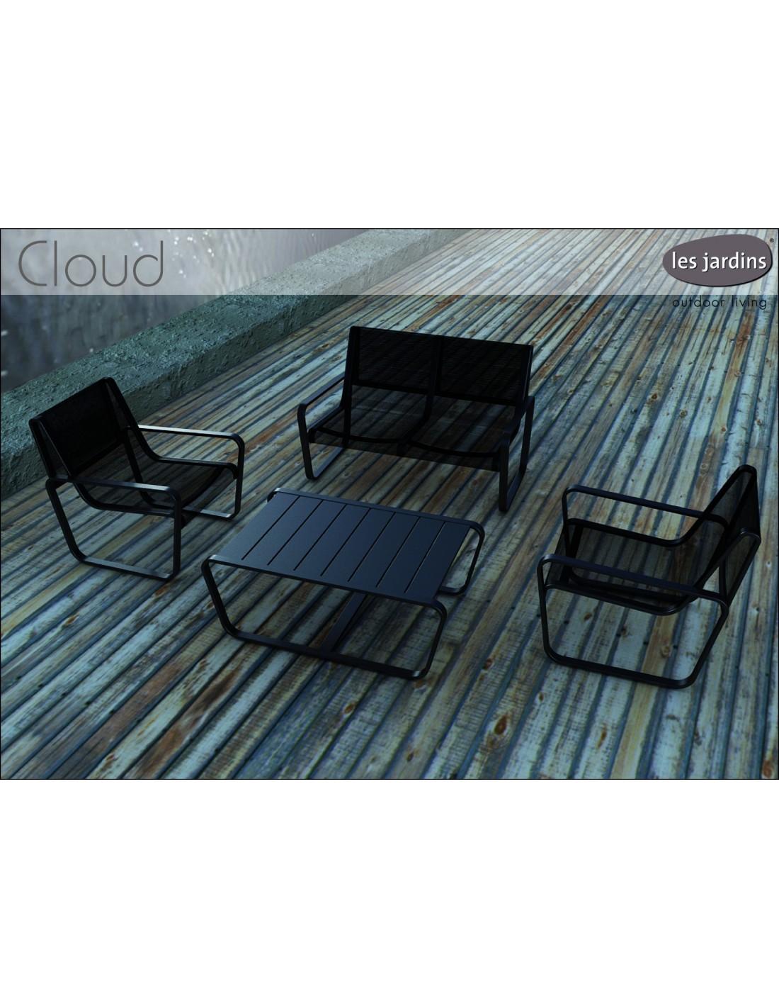 Salon de Jardin FLEX - 4 places aluminium et PVC - Noir ou gris au choix