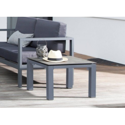 table basse stoneo 80x80 cm en aluminium caf c dar proloisirs. Black Bedroom Furniture Sets. Home Design Ideas