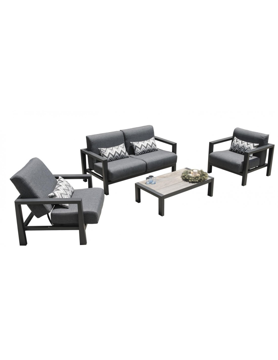 canap 2 places koi aluminium gris espace coussins grafito les jardins. Black Bedroom Furniture Sets. Home Design Ideas