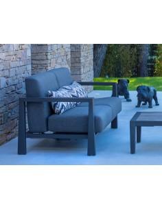 Canapé 2 places KOI, deux positions, Aluminium gris espace et coussins Olefin grafito - Les Jardins