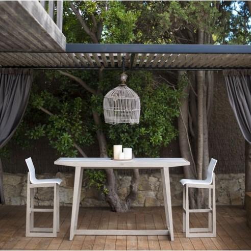 Table haute SKAAL 180 x 70 cm teck DURATEK et plateau HPL Béton - Les  jardins