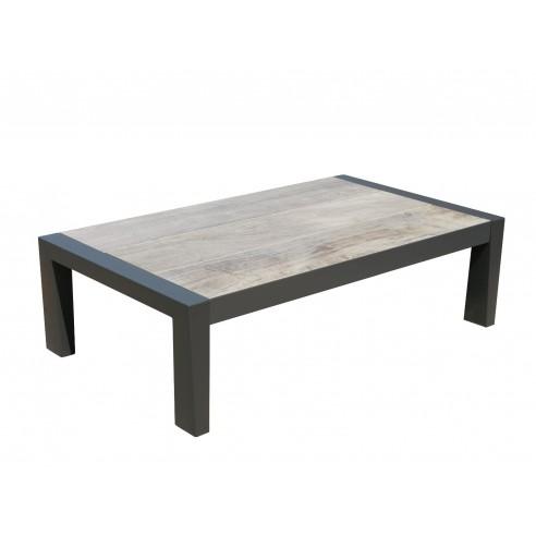 Table basse KOI aluminium gris espace et plateau en céramique gris - Les  Jardins