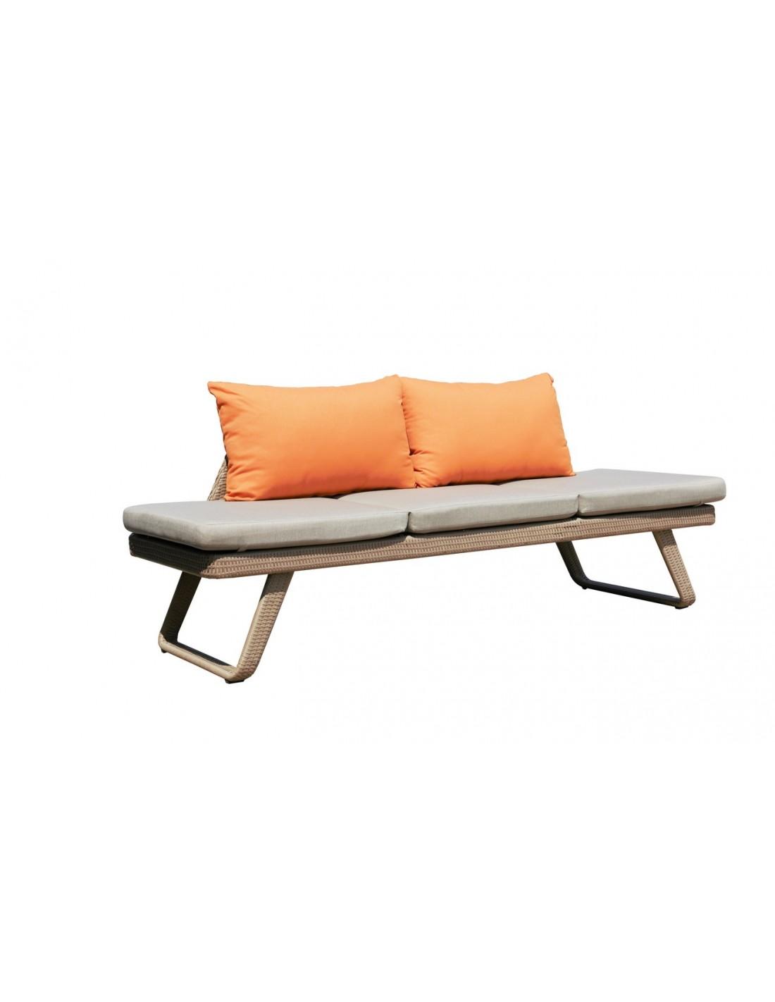 Bain de soleil convertible en canap lofa r sine naturel for Canape de jardin gris
