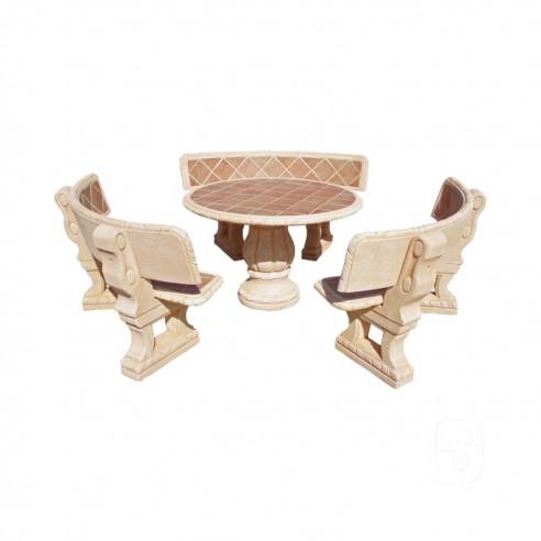 salon de jardin castano en pierre gr s ocre grandon. Black Bedroom Furniture Sets. Home Design Ideas