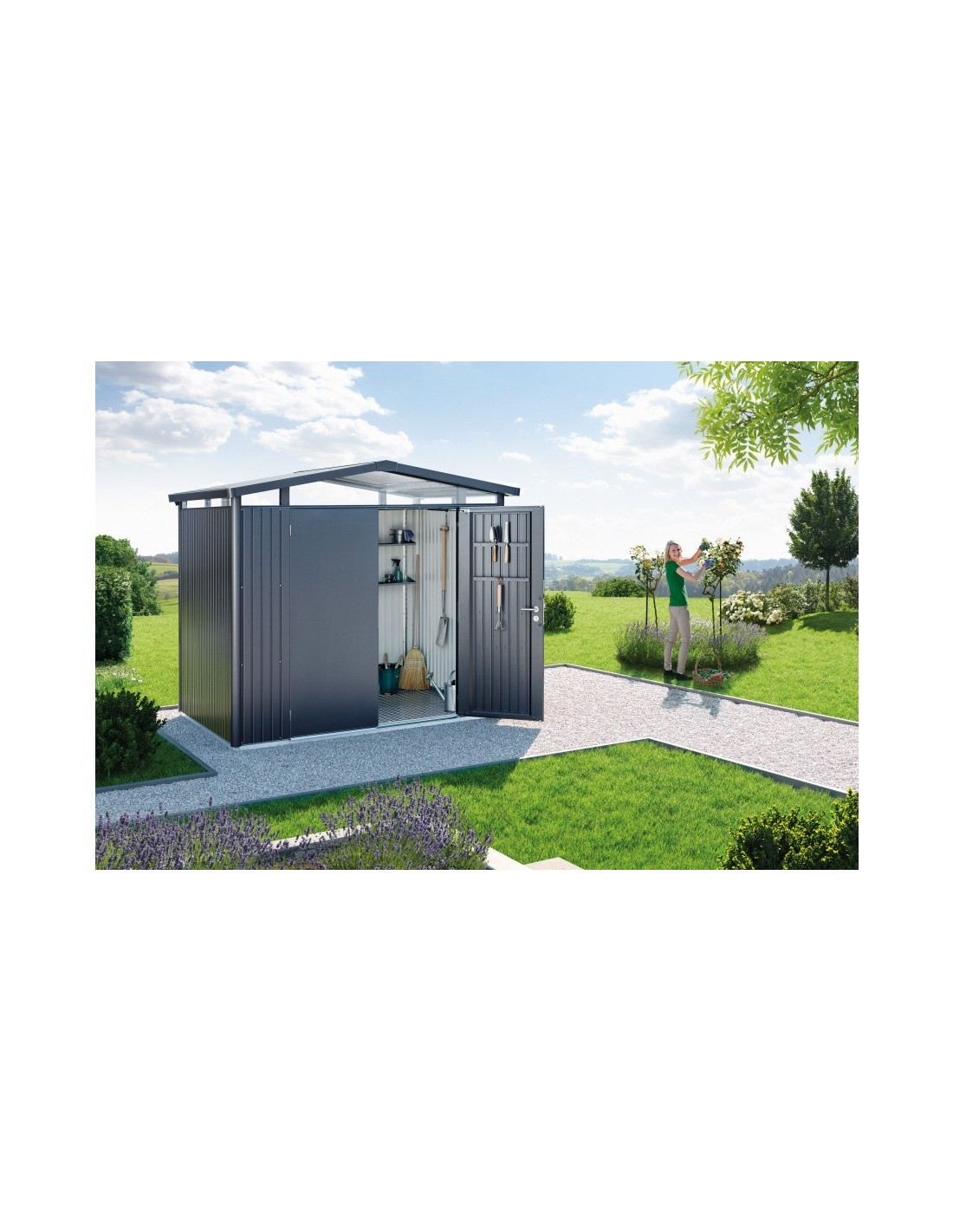 abri de jardin panorama double portes biohort de 8 7 m. Black Bedroom Furniture Sets. Home Design Ideas