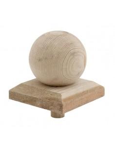 Protection décorative spérique en bois pour poteau de 9x9 cm