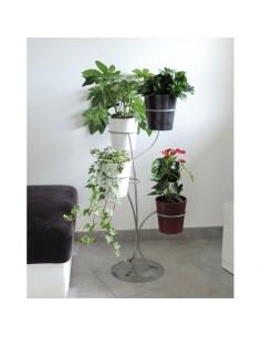 Porte-plantes 4 pots coloris gris alu - Louis Moulin