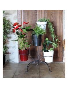 Porte-plantes 4 pots coloris noir - Louis Moulin