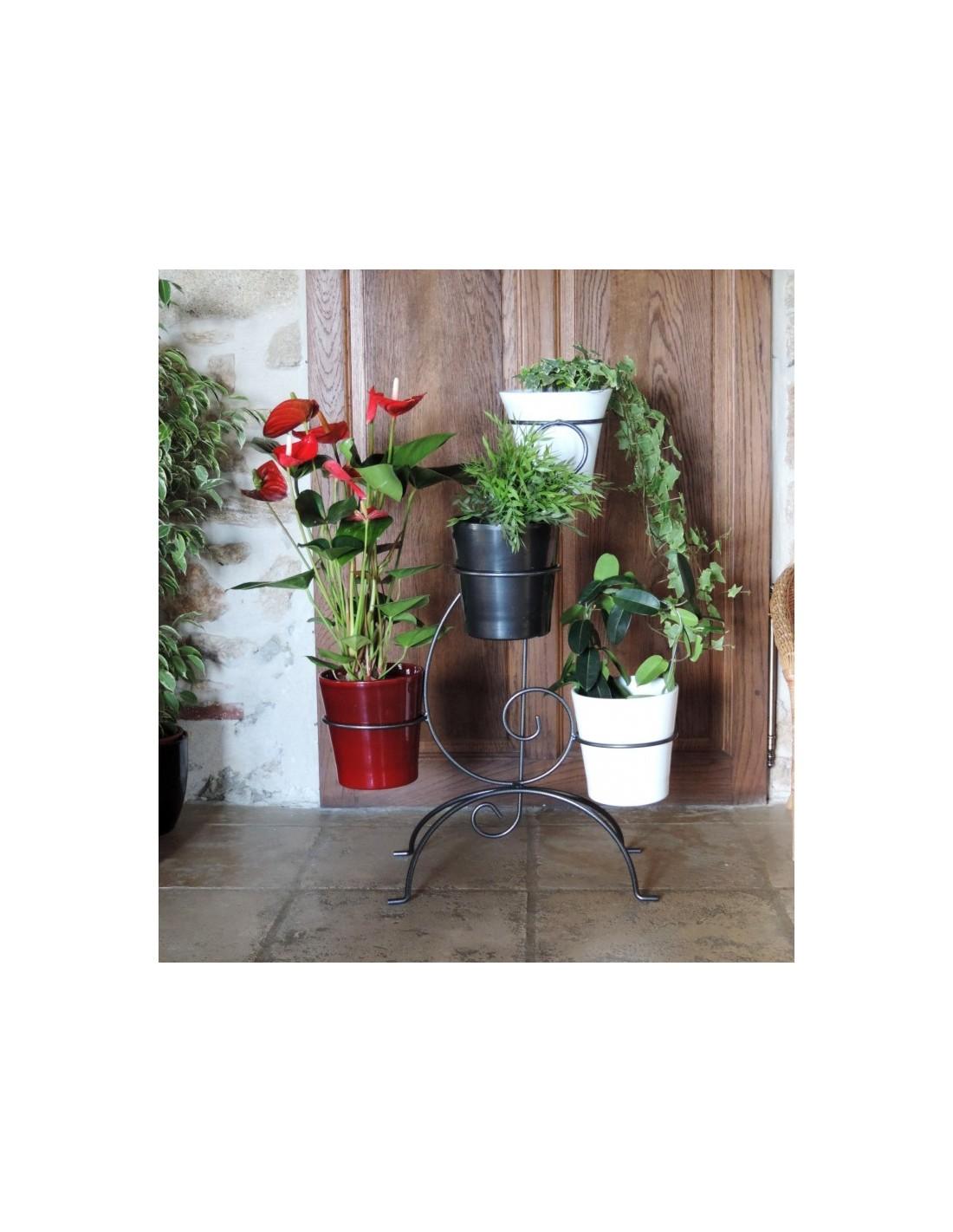 porte plantes 4 pots coloris gris martel louis moulin. Black Bedroom Furniture Sets. Home Design Ideas