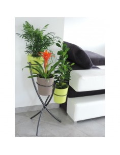 Porte-plantes tube 3 pots coloris gris martelé - Louis Moulin