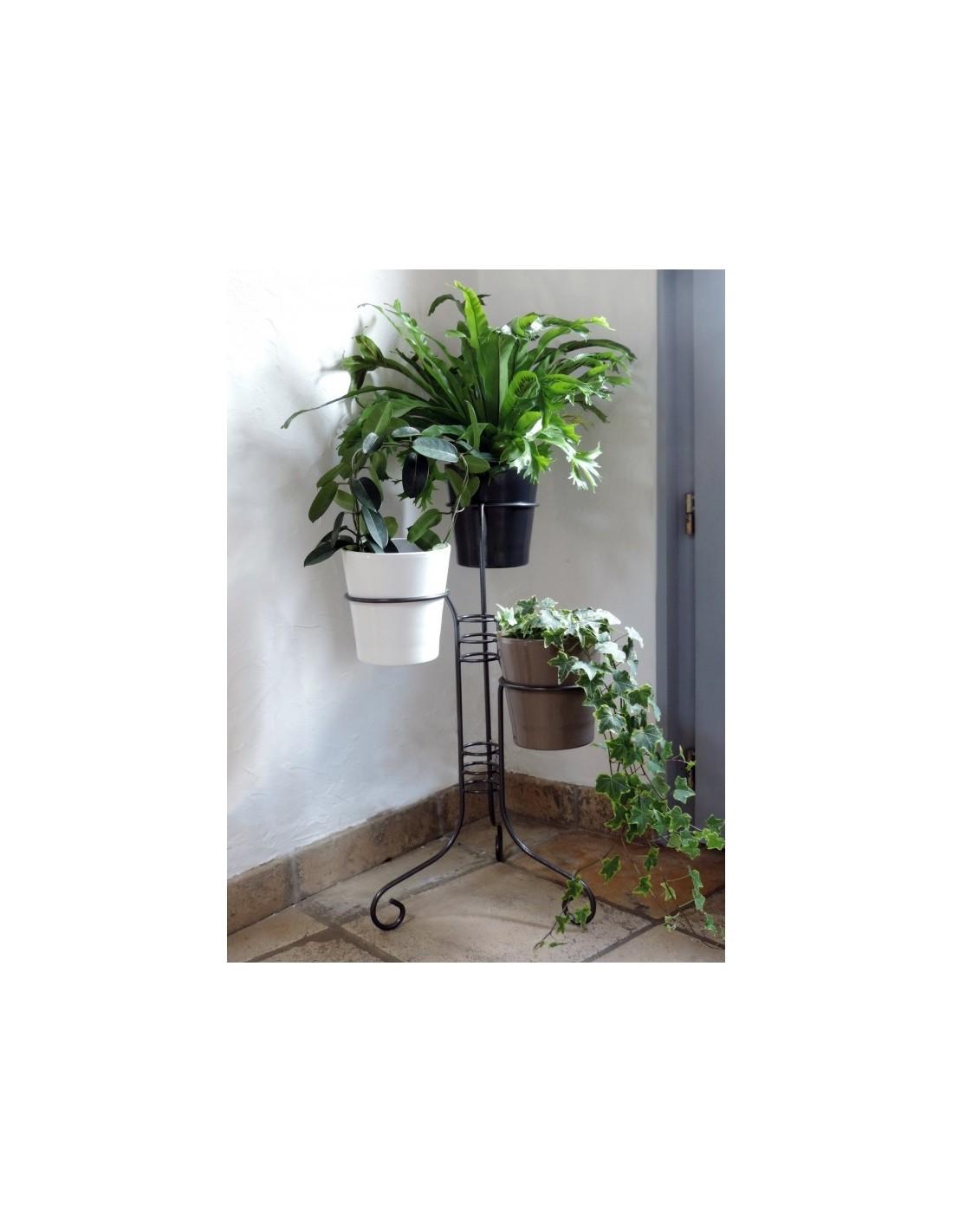 porte plantes 3 pots coloris gris martel louis moulin. Black Bedroom Furniture Sets. Home Design Ideas