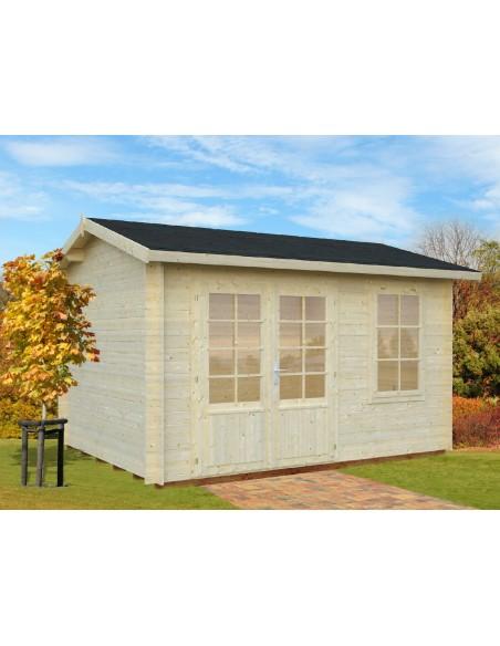 Abri de jardin Iris 9.7 m² avec plancher - Bois massif 28 mm