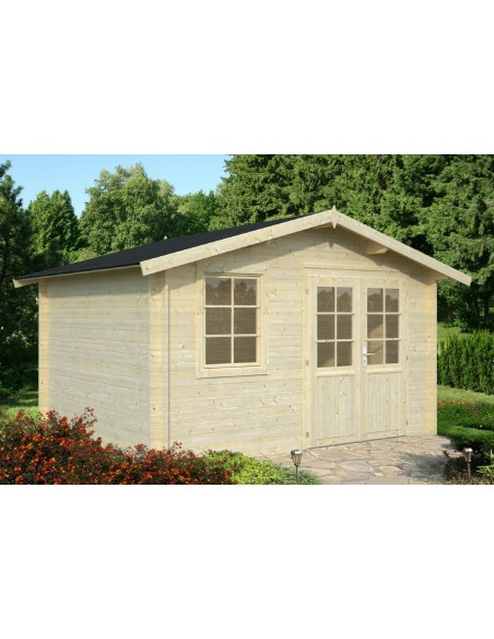 Abri de jardin Klara 10.8 m² en bois massif 28 mm