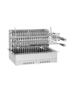 Gril Inox 61x45x46 cm encastrable avec tourne broche électrique - Forge Adour