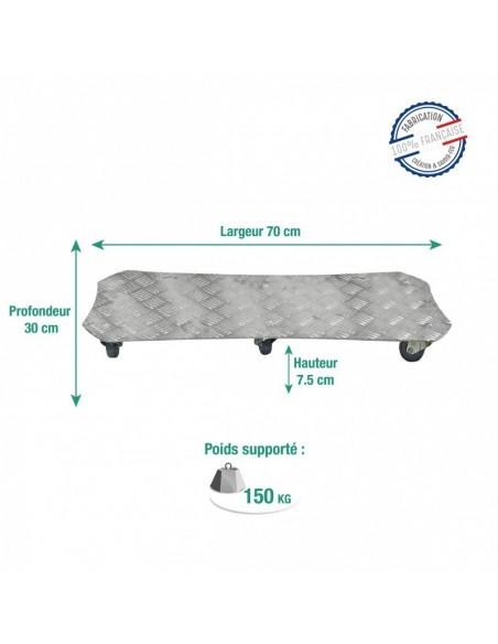 Roule-bac rectangulaire grand format en aluminium