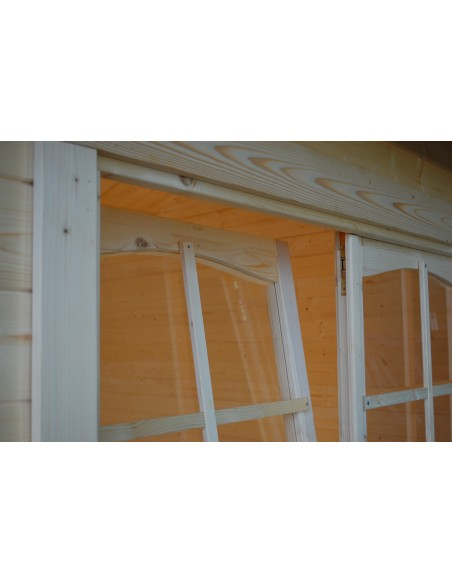 Abri de jardin Irene 30 m² avec plancher - Bois massif 70 mm