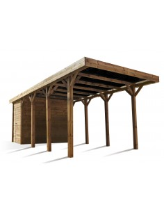 Carport ENZO de 15.7 m² traité autoclave teinté marron - Poteaux 12x12 cm