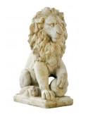 Statut Lion sur boule H.44 cm en pierre reconstituée - Grandon