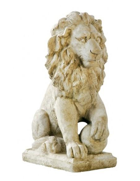 Statue lion sur boule H.44 cm patiné vieilli Grandon