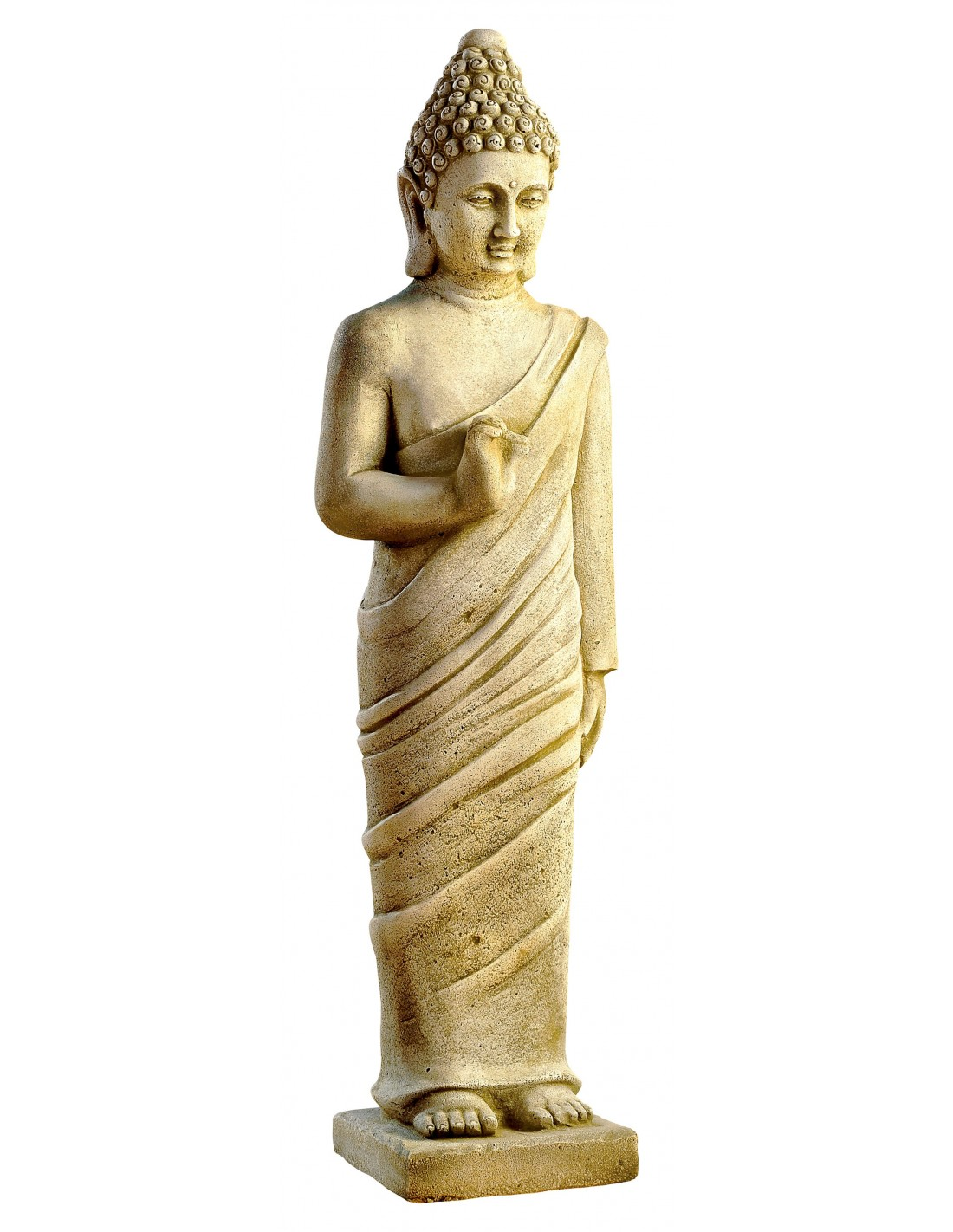 statue bouddha debout cm en pierre reconstitu e grandon. Black Bedroom Furniture Sets. Home Design Ideas