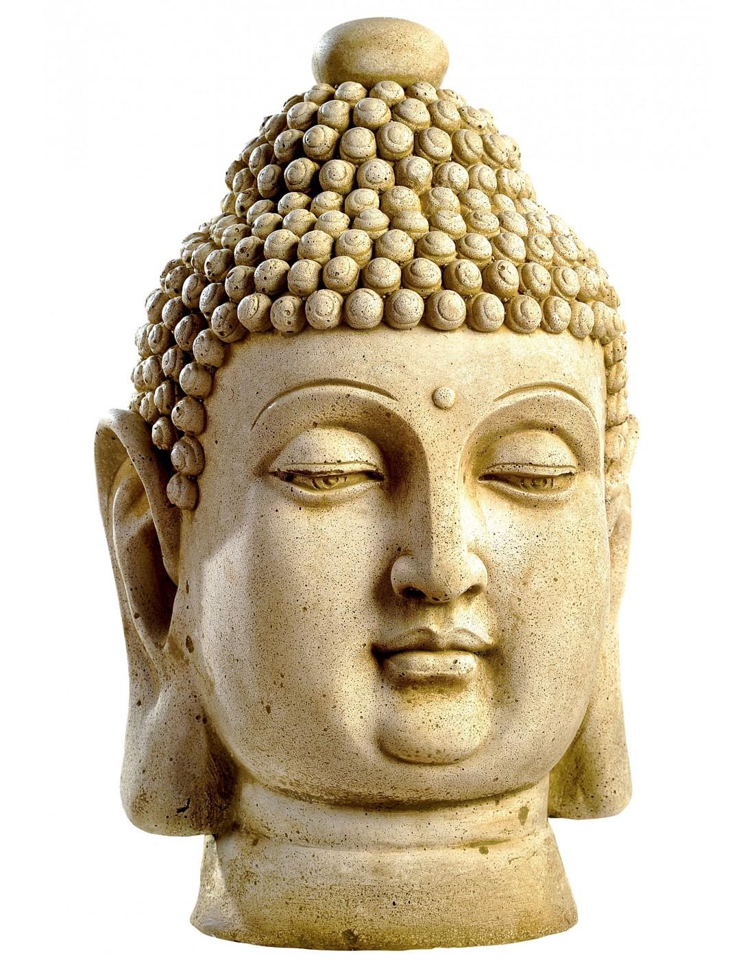 Statue t te de bouddha cm en pierre reconstitu e for Tete bouddha pour jardin