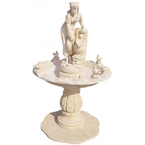 Fontaine centrale Marité ocre en pierre reconstituée - Grandon