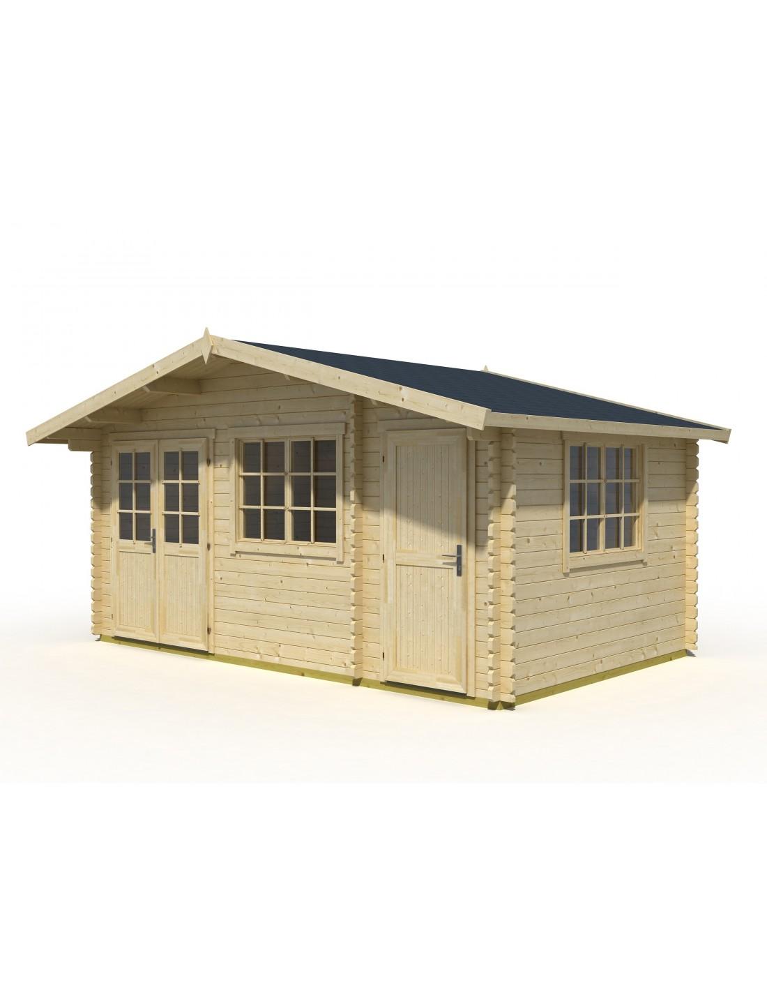 Abri de jardin borkum 15 2 m avec plancher bois massif for Abri de jardin en bois avec plancher