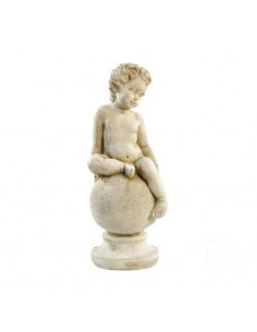Statue enfant sur Boule H.38 cm en pierre reconstituée - Grandon