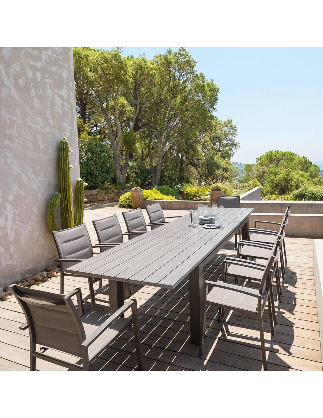 Table extensible h raklion aluminium hesperide - Table de jardin qui reste dehors creteil ...