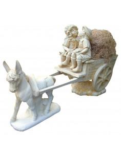 Calèche aux enfants tirée pas un âne H.135 cm en pierre reconstituée - Grandon