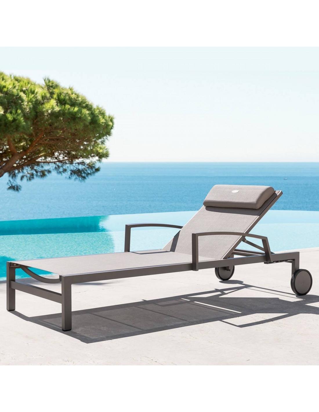 transat de jardin ocala 4 positions aluminium et texaline hesp ride. Black Bedroom Furniture Sets. Home Design Ideas