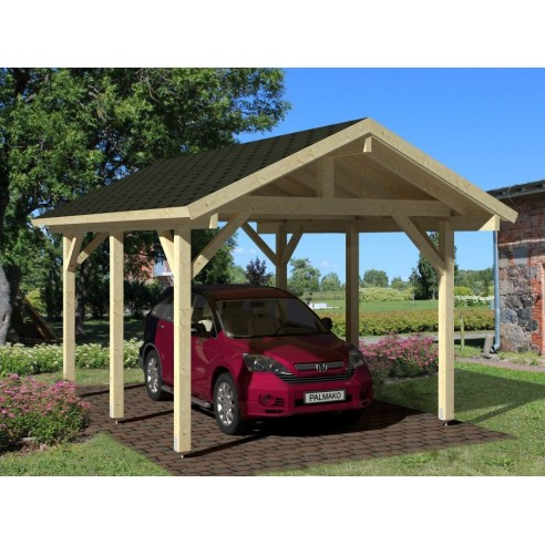 carport robert 18 3 m pour une voiture poteaux 12x12. Black Bedroom Furniture Sets. Home Design Ideas