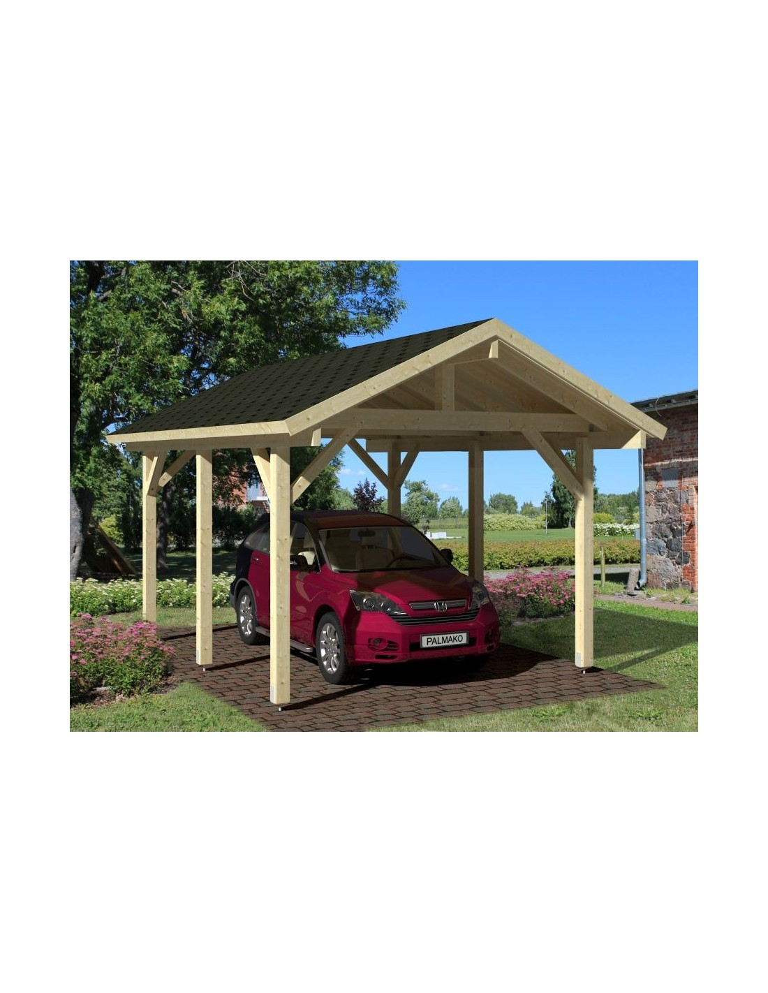 carport robert 18 3 m pour une voiture poteaux 12x12 lamell coll. Black Bedroom Furniture Sets. Home Design Ideas