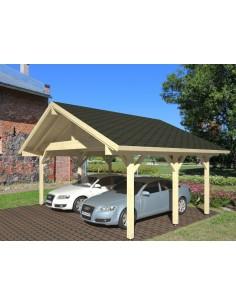 Carport Robert 32.4 m² pour deux voitures - Poteaux 12x12 bois lamellé-collé