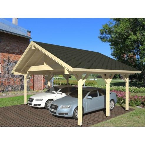 carport robert 32 m pour deux voitures poteaux 12x12 lamell coll. Black Bedroom Furniture Sets. Home Design Ideas