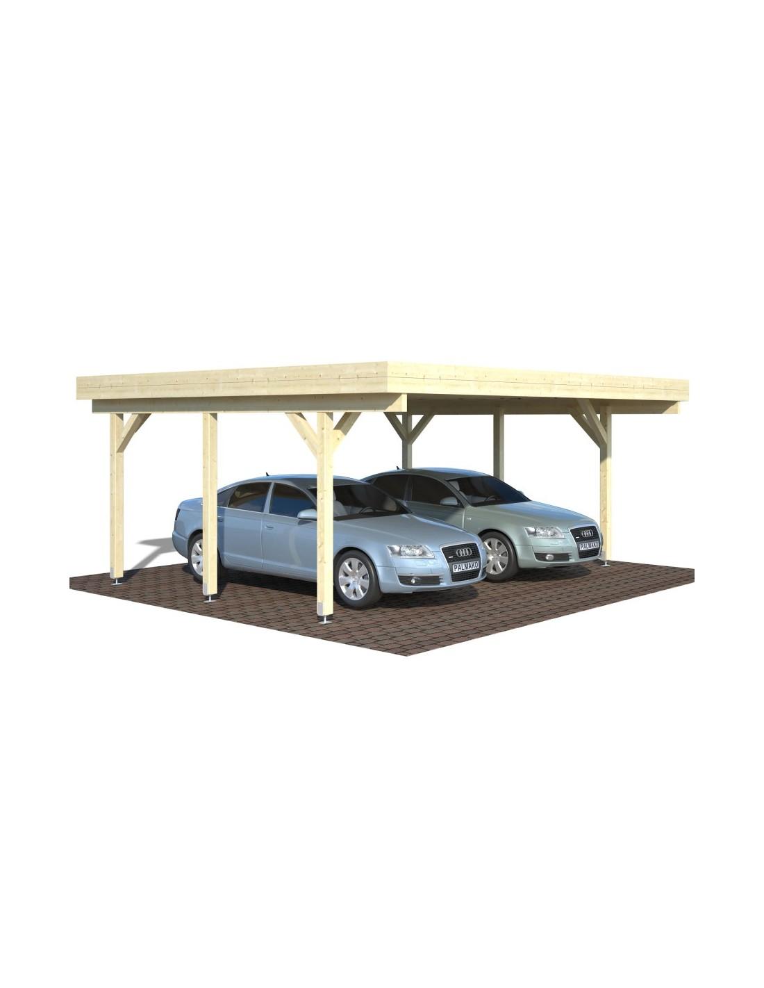 Carport karl 30 m pour deux voitures poteaux 12x12 - Abri piscine bois lamelle colle ...