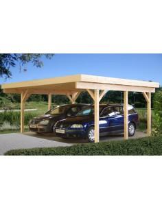 Carport Karl 30 m² pour deux voitures - Poteaux 12x12 bois lamellé-collé