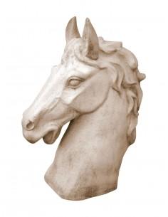 Buste de cheval H.49 cm en pierre reconstituée - Grandon