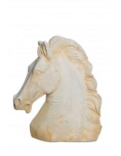 Buste de cheval H.35 cm en pierre reconstituée - Grandon