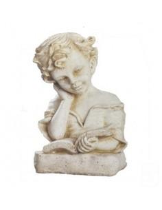 Statue fillette au livre H.24 cm en pierre reconstituée - Grandon