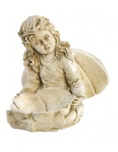 Statue Elfe aux coquelicots H.24 cm en pierre reconstituée - Grandon