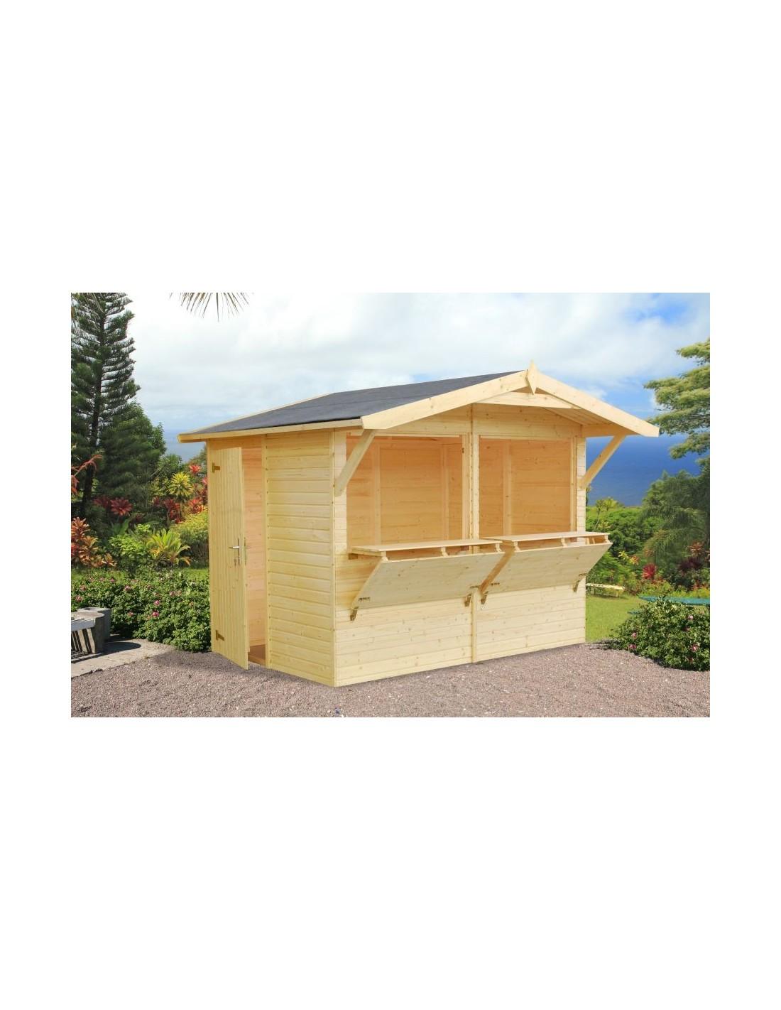 Abri de jardin stella 5 2 m style buvette bois massif 16 mm - Construir caseta de madera ...
