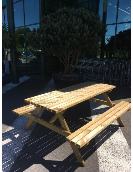 Table pique-niques 180x150x75 cm - Bois massif traité autoclave
