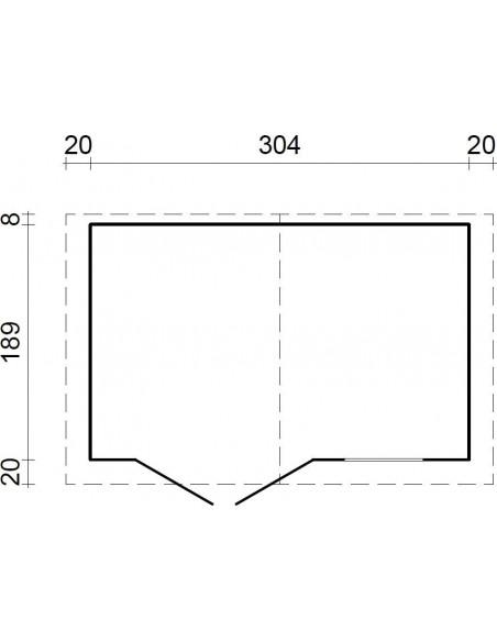 Abri de jardin Séville 5.75 m² en bois massif 19 mm