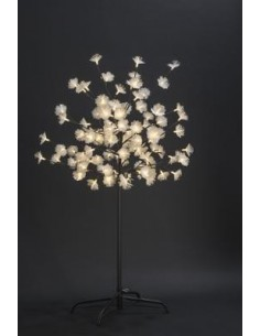 Arbre de noel prunus 108 LED Fibre optique blanc chaud