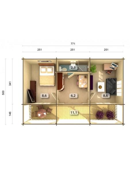 Résidence de loisirs Sandra 38.5 m² - Plancher inclus - Bois massif 44 mm